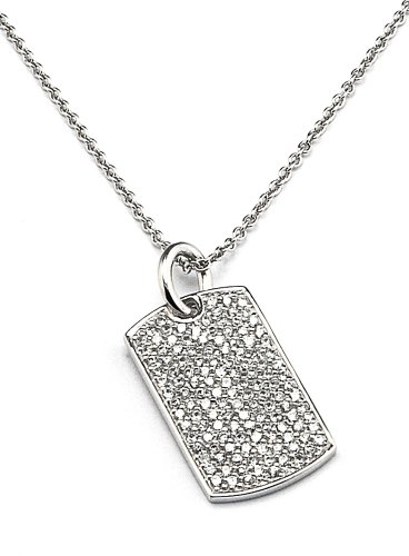 CZ Dog Tag Necklace in Sterling Silver