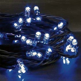 200 LED OUTDOOR BLUE Christmas Decoration lights with black cable or Party lights, festive lights