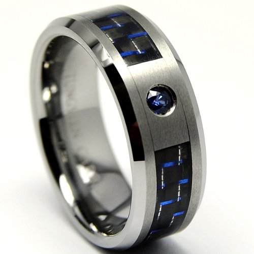 Tungsten Carbide Blue Sapphire Wedding Band