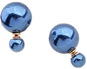 Dulcis Damen Perlen Strass Ohrringe (Blau)
