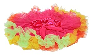 Girls Hot Pink and Rainbow Frill Pettiskirt Tutu. Fits Girls 3-6