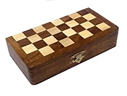 APS Craft Sheesham Wooden Magnetic Folding Chess Board (5 x 7)