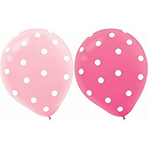 "20 ct Round Helium Quality 12"" Pink Polka Dot Balloons"