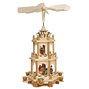 Christmas Pyramid 18 Inches Nativity Play - 3 Tier Carousel with 6 Candle Holders - Brubaker Design From Germany from Brubaker