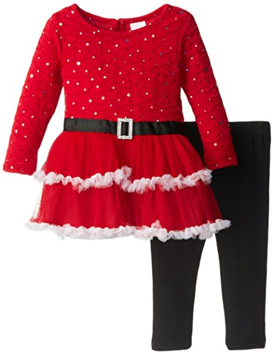 Youngland Baby-Girls Infant Textured Knit Drop Waist Dress With Tiered Skirt And Legging, Red/Black, 18 Months front-976902