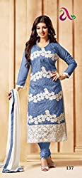 Shree Khodal Women's Blue Cotton Dress Material [SK_JCN1004A_A]