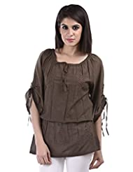 Aarr Round Neck Casual 3/4 Sleeve Cotton Kurti - B017R85GA6
