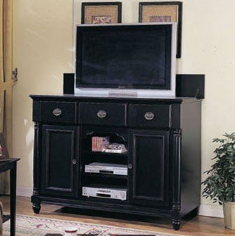 Cheap Entertainment Console Table with TV Lift Black Finish (VF_AM6989)