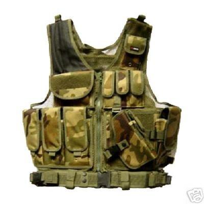Deluxe Tactical Pistol Vest - Woodland Camo -