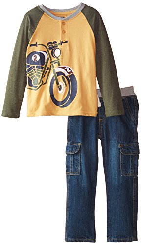 Kids Headquarters Little Boys' Tee with Motorcycle and Pants, Multi, 5