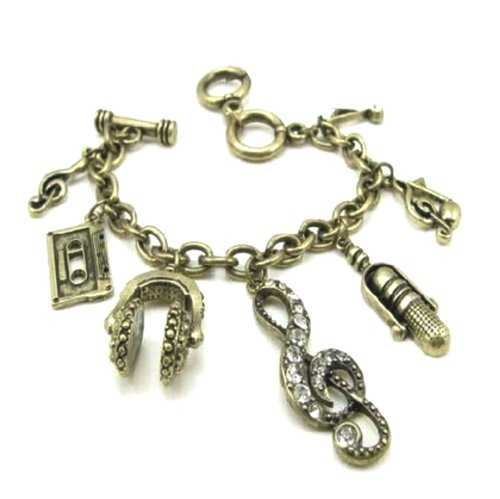 Steampunk Victorian Love Of Music Vintage Look Charm Bracelet With 6 Charms
