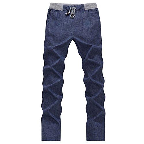 Haodasi Fashion Mens Leisure Linen Biancheria Trousers Cool Loose Pants pantaloni di cotone Breathable Soft Slim Slacks Color Navy Asian Size L