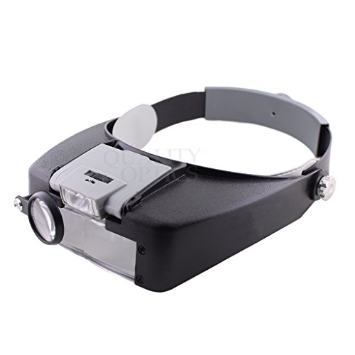 Quality Optics Headlamp Magnifier 8.5x LED Illuminated Headband For Precision Work, and Reading (Grey) (Sewing Work Light compare prices)