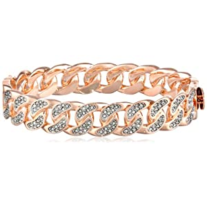 Juicy Couture Rose Gold Pave Link Hinge Bangle Bracelet