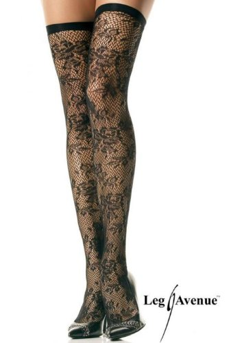 Lycra Floral thigh highs with elastic top