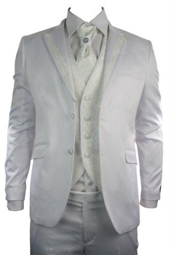 Mens Shiny Slim Fit Wedding Party Suit White Cream Pattern Trim Waistcoat Cravat Blazer Trousers