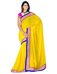 Sehgall Saree Indian Bollywood Designer Ethnic Professional Designer Material Jacquard Yellow