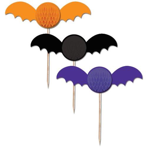 Cloak & Bats Halloween Honeycomb Bat Picks 6 Per Pack