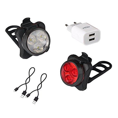 Akale-Wiederaufladbare-LED-Fahrradlampe-LED-Frontlicht-und-Rcklicht-Fr-Radfahren-350lm-4-Licht-Modi-Fahrradscheinwerfer-Fahrradlicht-Fahrradbeleuchtung-Set-2-USB-Kabel-1-Ladegert