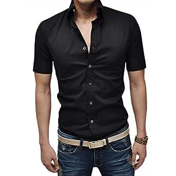 Zeagoo 2015 New Mens Button Black White Pure Slim Fit