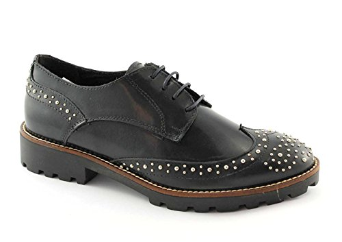 DIVINE FOLLIE 489 blu scarpe donna derby lacci puntale inglese ricamo 37