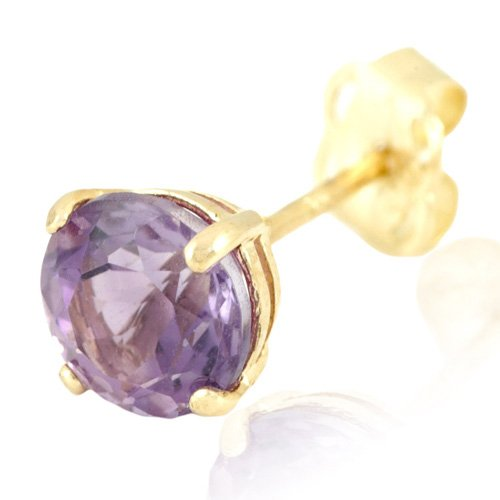 9ct Yellow Gold and Amethyst Single Stud Earring, THIS IS A SINGLE EARRING!,