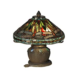 dale tiffany 101205 dragonfly mini table lamp antique bronze and art. Black Bedroom Furniture Sets. Home Design Ideas