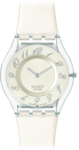 Swatch Ladies Panna Montata Cream Dial White Strap Watch