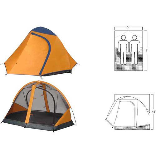 7' X 5' Backpacking Camping Tent Lightweight Aluminum Poles Mesh Roof Yellow front-926139
