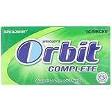ORBIT COMPLETE Spearmint Sugar Free Chewing Gum 14 Tabs (Pack of 12)
