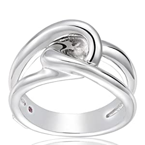 The Kiss Abstract Elegance 925 Sterling Silver Stackable Ring Clear CZ