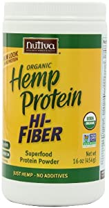Nutiva Organic Hemp Protein Hi Fiber, 16-Ounce Jars (Pack of 2)