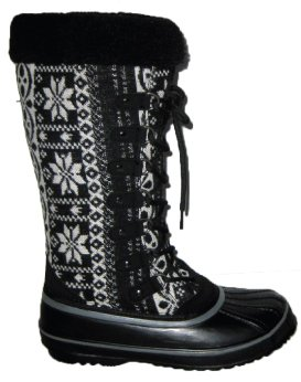 Capelli New York Snowflake Lace Up Boot With Boa Collar On A Tpr Outsole. Ladies Boot