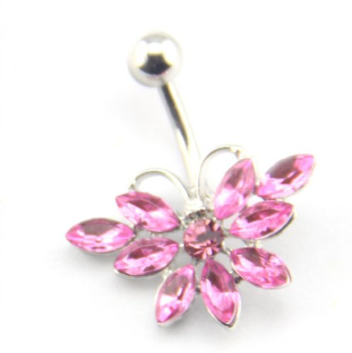Baqi 14G Stainless Steel Pink Gems Butterfly Shape Curved Bar Belly Navel Ring Pink