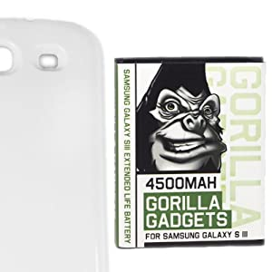 [4550mAh Tested Capacity] Gorilla Gadgets 4500mAh Extended Life Battery for Samsung Galaxy S3 with NFC + Marble White Back Cover [Compatible with Samsung Galaxy S III GT-i9300, AT&T Samsung Galaxy S3 Samsung i747, Verizon Samsung Galaxy S3 Samsung i535, T-mobile Samsung Galaxy S3 Samsung T999, U.S. Cellular Samsung Galaxy S3 R530, and Sprint Samsung Galaxy S3 Samsung L710]