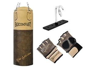Premium Retro Rindsleder MMA-Set inkl. Boxsack 100 x 35cm gefüllt, Leder MMA Free Fight Handschuhe braun, Deckenhalterung und Heavy Duty Vierpunkt-Stahlkette