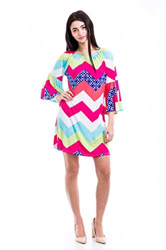 Boutique Republic Womens Multicolored Chevron Printed Tunic Dress