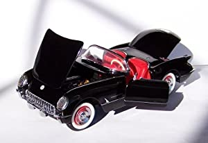 1954 Corvette in Black with Red Interior Diecast Model Car by The Franklin Mint in 1:24 Scale