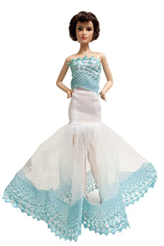 Barbie Blue & White Lace Embroidered Fishtail Gown