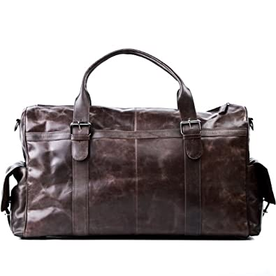 de voyage ASHTON besace weekend fourretout vintage marron en cuir