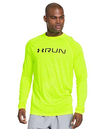 Under armour men 39 s ua run long sleeve t shirt extra large for Yellow under armour long sleeve shirt