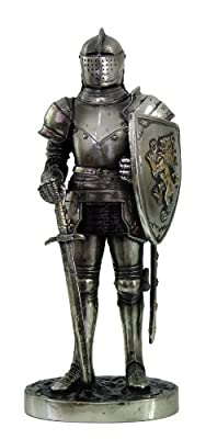 """Medieval Knight 7"""" Tall Fort Keep Sentry Guard Statue Figurine Suit Of Armor Free Gift Of Pendant"""