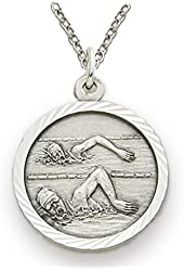 """.925 Sterling Silver Female Swimmer Girls Sports Patron Saint St. 3/4"""" Medal with St. Christohper on Back Comes with a 18'' chain in a velvet gift-ready box"""
