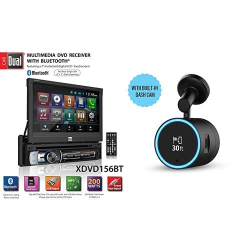 Dual Electronics XDVD156BT Multimedia Retractable & Detachable 7-inch LED Backlit LCD Touchscreen Single DIN Car Stereo Receiver  and Speak Plus Dash Cam with Amazon Alexa Built-In