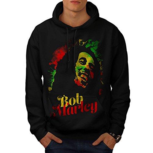 Bob Marley Musica divertimento Reggae Uomo Nuovo Nero M Felpa Con Cappuccio | Wellcoda