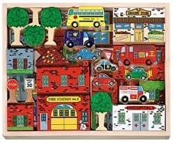 Melissa & Doug Deluxe Wooden 53-Piece Town Blocks Set