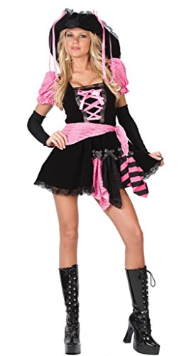 Funworld Womens Pirate Pink Punk Theme Party Fancy Dress Halloween Costume