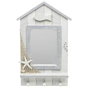 Beach Hut Collection Hand Painted Shabby Chic Style Mirror Key Holder Kitchen