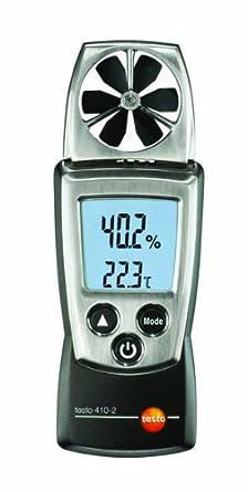 Testo 410-2 Digital Pocket Vane Anemometer, 0.4 to 20 m/s Velocity