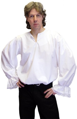 MEDIEVAL-LARP-SCA-RE ENACTMENT-ROLE PLAY-STEAMPUNK-GOTHIC-WHITE FRILL SHIRT MED ADULT